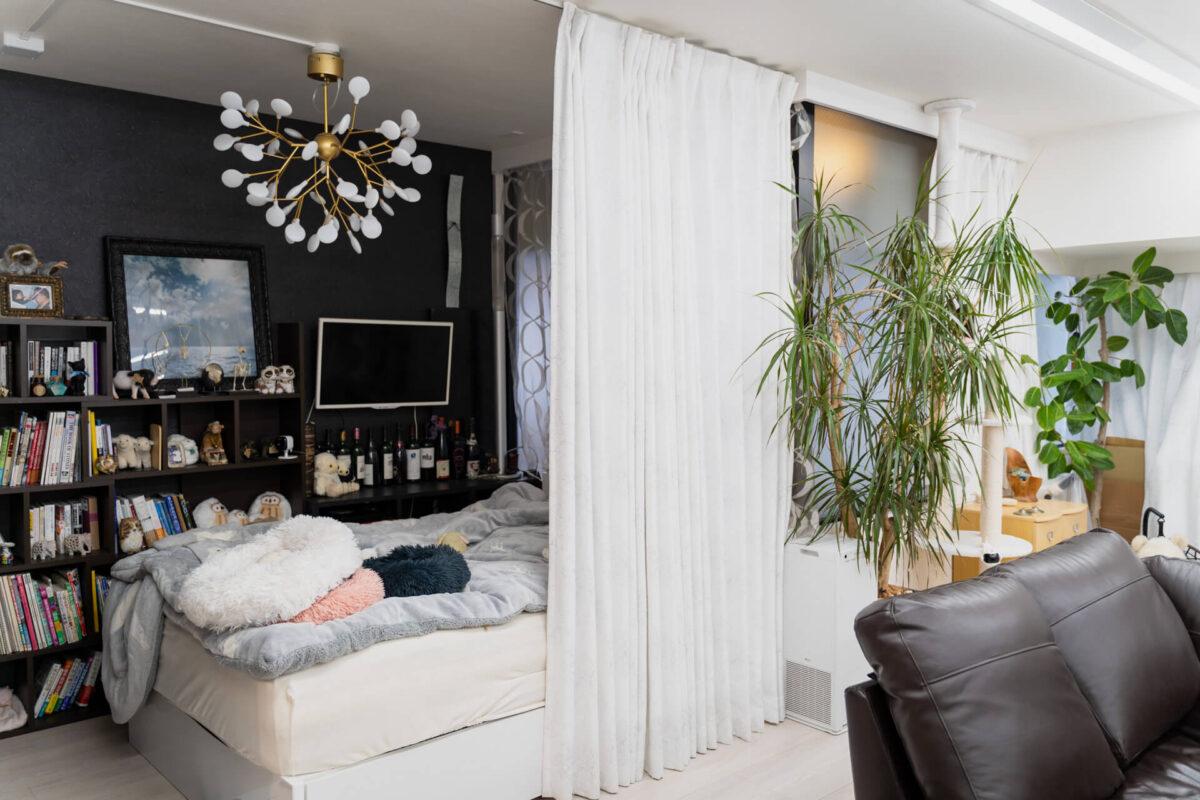丸い寝室の照明